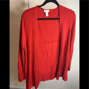 Chicos Red Open Front Cardigan Size 1 Medium